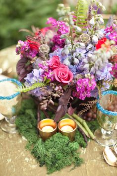 wedding centerpiece ideas Midsummer Nights dream Bridal Shower www.poshshoppeflorist.com Posh Shoppe Florist purple gold garden shower