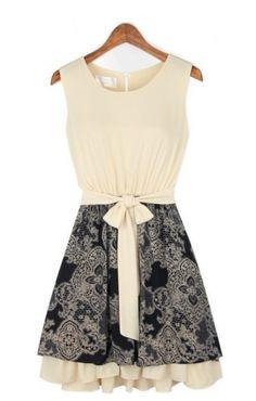 O-neck Sleeveless Pleating Hem Chiffon Color Block Dress