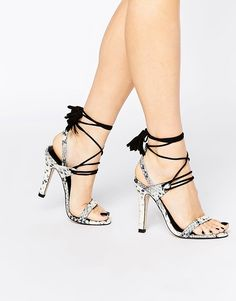 Image 1 ofMango Snake Effect Lace Up Heels