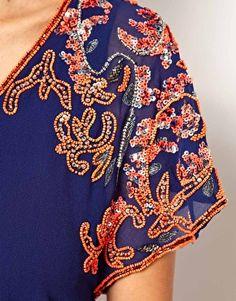 Image 3 of Warehouse Embellished Shoulder Darted Dress