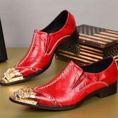 >> Click to Buy << 2017 Fashion Genuine Leather Men Shoes Red Italian Men Oxfords Party Banquet Dress Shoes Men Business Formal Shoes Large Size #Affiliate