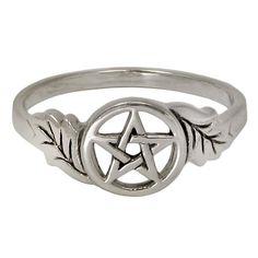 sterling silver oak leaf pentacle ring for men or women sz 4 15 wiccan weddingoak - Wiccan Wedding Rings