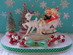 Napco Vintage Xmas Reindeer and Sleigh with Happy Children Holiday Scene...ooak