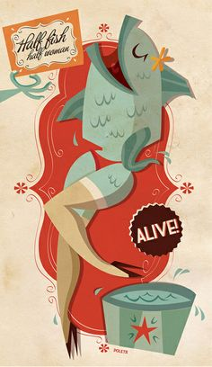 I like the combo of old styled patterns with the pin-up/burlesque fish imagery. Old and new.