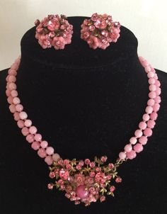 VINTAGE MIRIAM HASKELL PINK GLASS BEADS FLOWERS & RHINESTONE NECKLACE & EARRINGS #MiriamHaskell