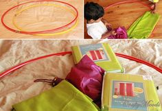 Make a Children's Play Tent with a Hula Hoop, old umbrella & Curtains!