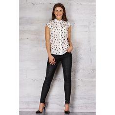 Sleeveless White Shirt In Flamingo Print Beige Shirt, Flamingo Print, Leather Pants, Capri Pants, Spandex, Etsy, Blouse, Shirts, Clothes