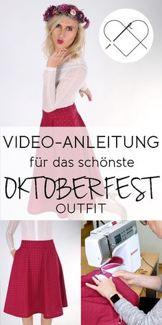 Close the simplest half circle skirt as a dirndl replacement for the next Oktoberfest. Whether in red, blue or pastel, with this traditional skirt pattern for beginners you are fully in line with the trend. Here's the video tutorial >> Oktoberfest Outfit, Traditional Skirts, Handmade Skirts, Textiles, Half Circle, Refashion, Red And Blue, Free Pattern, Knitting Patterns