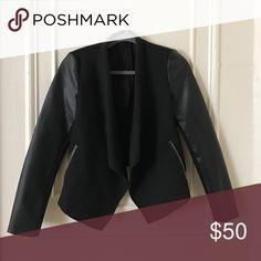 Zara jacket Leather sleeves barely worn has no creases Zara Jackets & Coats