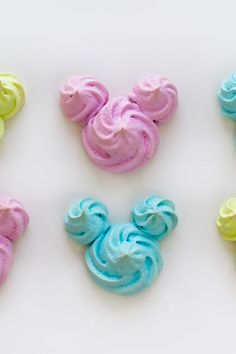 What better way to contribute to a dessert table than with neon-colored Mickey meringue cookies! Throw on your apron and get baking! Meringue Cookie Recipe, Baked Meringue, Disney Inspired Food, Disney Food, Disney Disney, Pastry Bags And Tips, Disney Candy, Disney Desserts, Disney Recipes