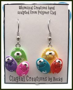 Becky's Polymer Clay  Multi Color Egg Earrings by clayfulcreations