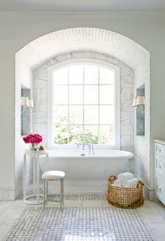 Gorgeous wall treatment with tub nook - large scale with small scale contrast
