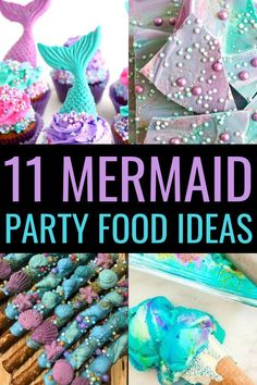 Mermaid Party Food Ideas | Hosting a mermaid birthday party? Try these mermaid food ideas to wow your guests. All 11 of these recipes are a perfect fit for a dessert table at any mermaid themed party! #mermaidbirthdayparty #mermaidfoodideas #mermaidpartyfoodideas #mermaidthemedparty