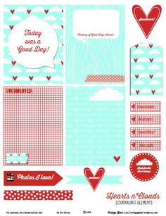 Free Printable Download - Hearts n Clouds Journaling Elements - Vintage Glam Studio