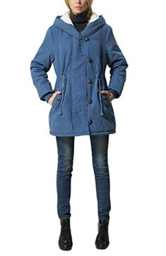4ca4e6cb34e Mojessy Womens Winter Warm Wool Coat Hoodie Parkas Overcoat Fleece Outwear Jacket  Large Blue **