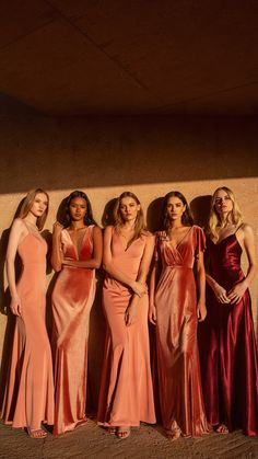 The Sunset Look. Jenny Yoo Spring 2019 Chic bridesmaids dresses you'll definitely want to wear again. Jenny Yoo's Spring 2019 bridal party collection is filled [. Burnt Orange Bridesmaid Dresses, Burnt Orange Weddings, Velvet Bridesmaid Dresses, Burnt Orange Dress, Mismatched Bridesmaid Dresses, Burgundy Bridesmaid Dresses, Wedding Dresses, Rust Orange, Orange And Pink Wedding
