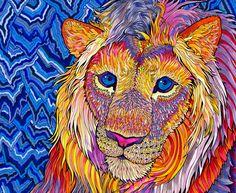 kaleidoscopic king - paintmyworldrainbow #ART #LION