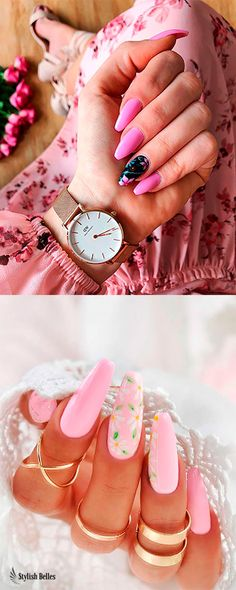 If you are searching for cute nail colors for spring and beautiful spring nail designs then check our Stylish nails especially Floral nails and butterfly nails. Simple Nails Design, Nail Design Spring, Spring Nail Colors, Fall Nail Designs, Really Short Nails, Really Cute Nails, Coffin Nails Matte, Coffin Shape Nails, Acrylic Nails