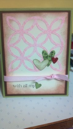 For this card I used the Lattice die from Stampin UP and then added some hearts