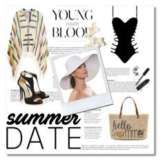 """""""Summer Date: The Beach"""" by bevymonique-181 ❤ liked on Polyvore featuring Agent Provocateur, Straw Studios, Anna Kosturova, Eric Javits, Anja, Bobbi Brown Cosmetics, beach and summerdate"""