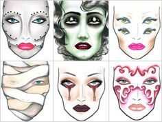 MAC face charts makeup inspiration for Halloween. I have wanted to do the zipper eyes for years...may have to try that this year!