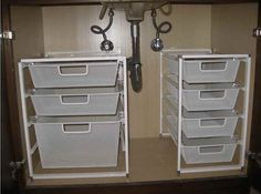Under sink storage ideas. Look and learn plenty under kitchen / bathroom cabinet sink pull out organizer / storage for you to try + BONUS TUTORIAL.