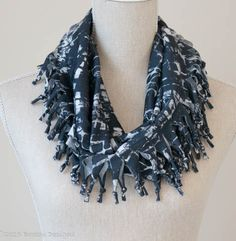 Smudgy Print Short Knotted Cowl Scarf