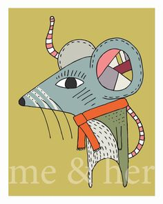 Maverick Mouse. Childrens art print. Pen and ink by simplymeandher, $15.00