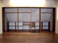 Placard coulissant sous pente bois avec traverses alu et un miroir dressing - Dressing sous pente ikea ...