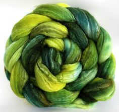 Here's a fun base for my shop and I do like the way it dyes - three different fibers, all taking the colour differently. It's spins quite easily and my normal aversion to superwash doesn't rise with this blend, lol. There are 8 oz dyed from the same package, check for the a and b.4 ozmerino 40%sw merino 40%tussah silk 20%hand wash cool Please be aware that there may be some colour bleed on first wash andmonitors may show colours differently