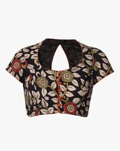 Online shopping for Kalamkari - Saree Store from a great selection at Fashion Store. Black Blouse Designs, Simple Blouse Designs, Stylish Blouse Design, Stylish Dress Designs, Kalamkari Blouse Designs, Cotton Saree Blouse Designs, Kalamkari Blouses, Designer Blouse Patterns, Beige Blouses