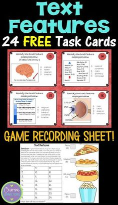 FREE Nonfiction Text Features Task Cards! This set features 24 nonfiction text features, plus a fun recording sheet!