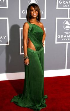 Rihanna looked fabulous in a green dress designed by Roberto Cavalli at the 49th Annual Grammy Awards at the Staples Center on February 11, 2007 in Los Angeles, California