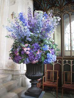 Large Urn Arrangement of Delphinium, Hydrangea, Rose and Eucalyptus