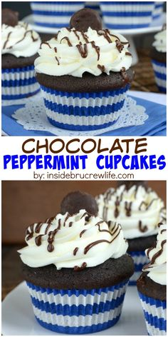 Homemade dark chocolate cupcakes topped with a peppermint frosting and mini Peppermint Patties.  These are so good!