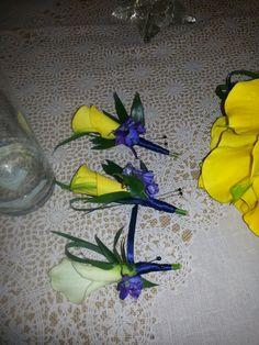 Royal Blue White Calla Lily Bridal Bouquet Wedding Flower