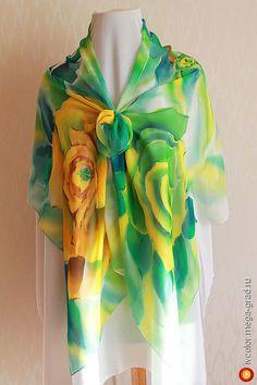 Палантин Розы из натурального шелка, батик (190х60 см) - батик, авторские палантины и шали. МегаГрад - авторская ручная работа