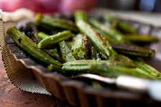 Roasted Okra:  Tried this in Charleston and loved it! So glad I found the recipe.     http://www.nytimes.com/2011/09/13/health/nutrition/13recipehealth.html?ref=nutrition