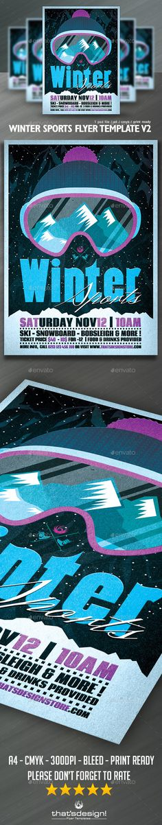 Winter Sports Flyer Template PSD #design Download: http://graphicriver.net/item/winter-sports-flyer-template-v2/13114441?ref=ksioks