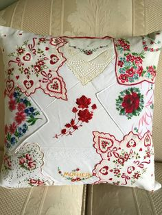 Vintage Embroidery Patterns Items similar to Vintage hankerchief pillow on Etsy - Fabric Crafts, Sewing Crafts, Sewing Projects, Embroidery Transfers, Embroidery Patterns, Machine Embroidery, Embroidery Thread, Crewel Embroidery, Vintage Crafts
