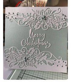 Oh simple but classy! Cricut Christmas Cards, Christmas Cards 2018, Stamped Christmas Cards, Simple Christmas Cards, Christmas Card Crafts, Homemade Christmas Cards, Merry Christmas, Xmas Cards, Christmas Greetings