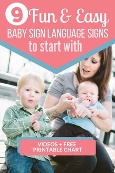 What are the best signs to start with when you begin teaching your baby sign language? Learn how to sign 9 or the best starter signs for young children! Video instruction of how to do each sign PLUS d Baby Sign Language Chart, Sign Language For Toddlers, Simple Sign Language, Sign Language Phrases, Sign Language Interpreter, British Sign Language, Baby Language, Learn Asl Online, Baby Lernen