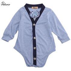 >> Click to Buy << Newborn boys bowtie gentleman Bodysuits Baby Kids  Boy Warm Long sleeve button Infant Bodysuit Jumpsuit playsuits Clothes Outfit #Affiliate