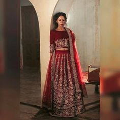 On popular request here is the complete look of our regal burgundy lehenga choli fit for a queen. We used the traditional ganga jamuni technique with tilla, dabka and lots of swarovski elements. #ootd #ootn #potd #bride #outfit #burgundy #swarovski #blogger #shoot #stylist #fashion #handmade #couture #queen #magazine #evening #wedding #collection #model #photography #dubai #usa #pakistan #lahore #order #follow #vogue #india #streetstyle #art @fatima.a.khan @hamzabaande @qasimliaqat