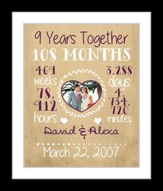 Personalized Anniversary Gift For Wife 9 Year Date Time Together Print Custom