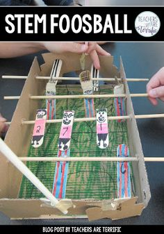 This challenge will have students building a foosball model that has two teams trying to kick a ball or marble. Students create the foosball players, design the format of the players, and add details to make the set fun. Grab a FREEBIE STEM Stem Projects, Projects For Kids, Kids Crafts, Wood Projects, Engineering Design Process, Engineering Technology, Stem Classes, Stem Science, Science Ideas