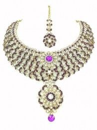 Purple Color Drop Down In This Beautiful Necklace Set With Matching Earrings & Necklace Set
