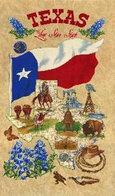 LONE STAR STATE  Moda panel cotton quilt fabric 11260-12-bluebonnets- Texas map- buffalo- flag by CountryStittches on Etsy