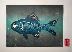 Little Fish, Tropical Fish, Flashlight, Light Up, Lino Cuts, Dark, Etsy, Animals, Products