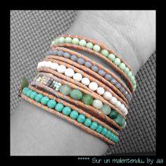 Wrap très frais, menthe à l'eau , blanc , pastel, turquoise, sur un malentendu by aa... : Bracelet par sur-un-malentendu-by-aa